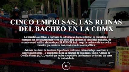Caso: Cinco empresas, las reinas del bacheo en la CDMX